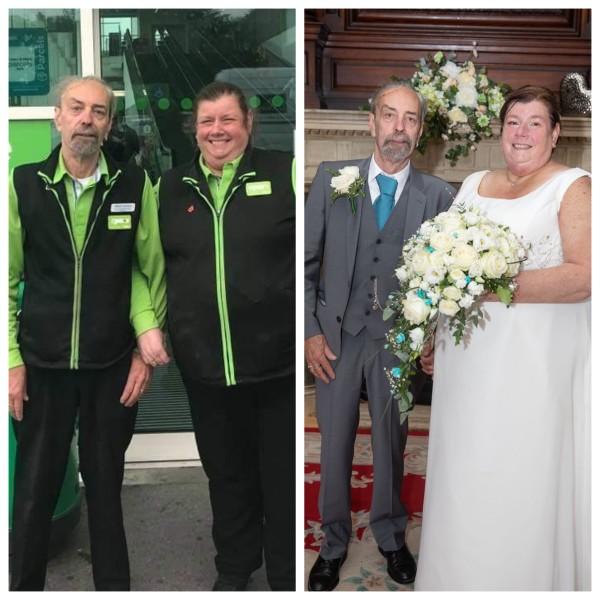 Asda Ashington newlyweds Ray Weatherley and Lynn Berrett