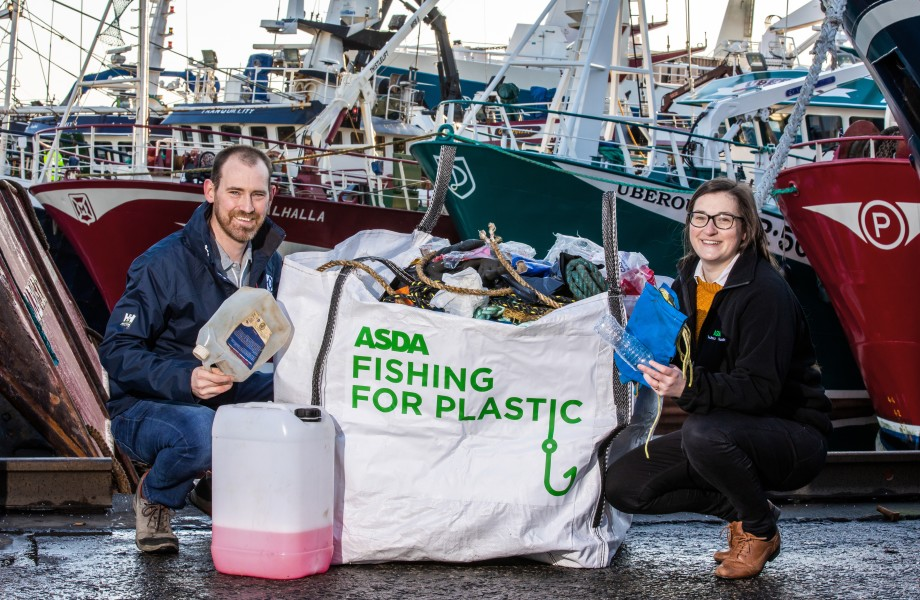 Sarah McCann from Asda and David Bellany from Denholm Seafoods launch Asda's Fishing for Plastics initiative.