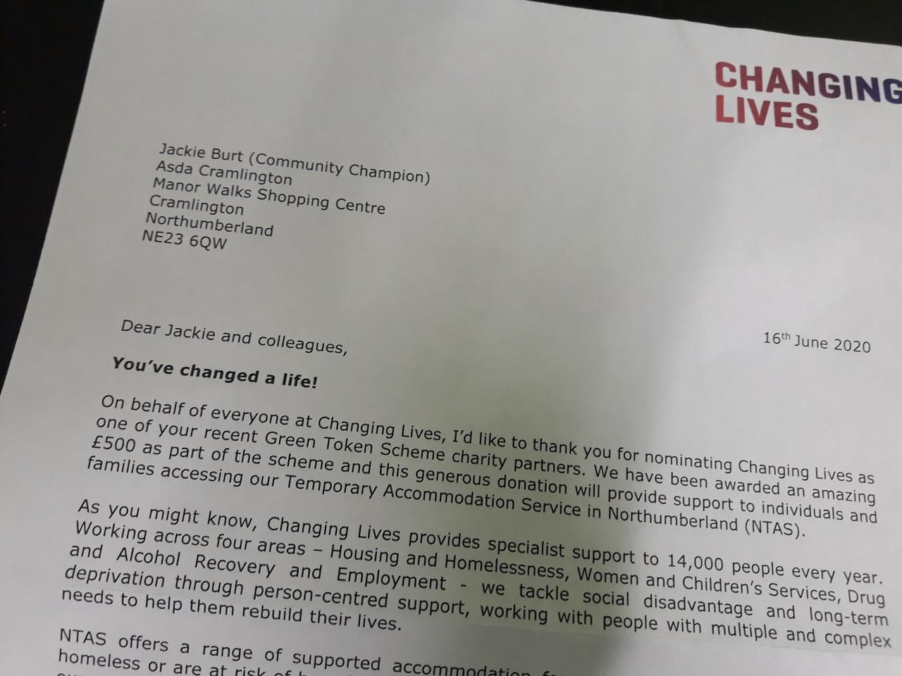 Thanks from Green Token Giving winners | Asda Cramlington