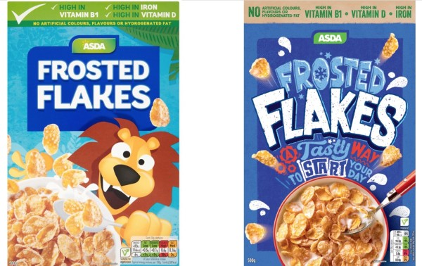 Frosted Flakes redesign - boxes before and after