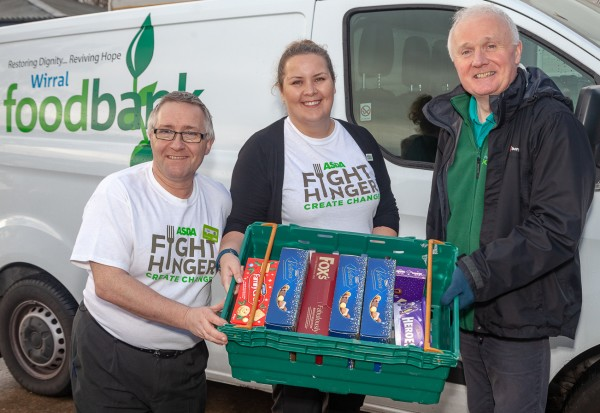 Asda Bromborough and Arrowe Park community champions at Wirral foodbank