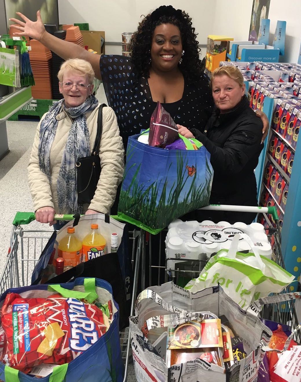 ITV This Morning star Alison Hammond with Asda Byker customers Pat and Carol