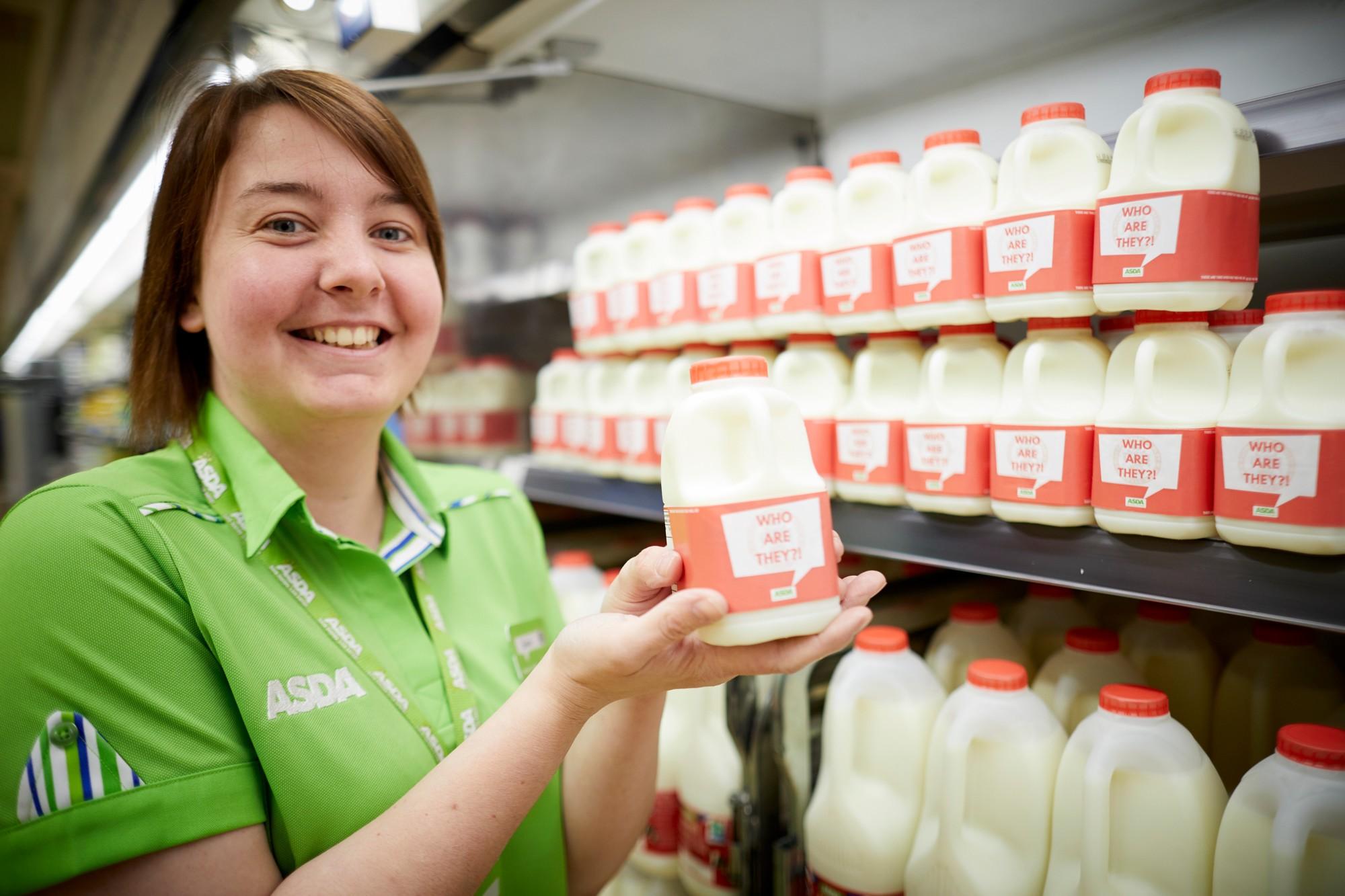 "Asda Accrington's celebratory ""Who are they?"" milk"