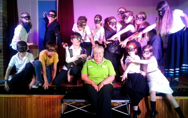Asda Gosforth community champion Michelle Castledine with a local youth theatre group