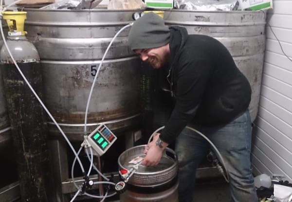 Drew at work in the brewery