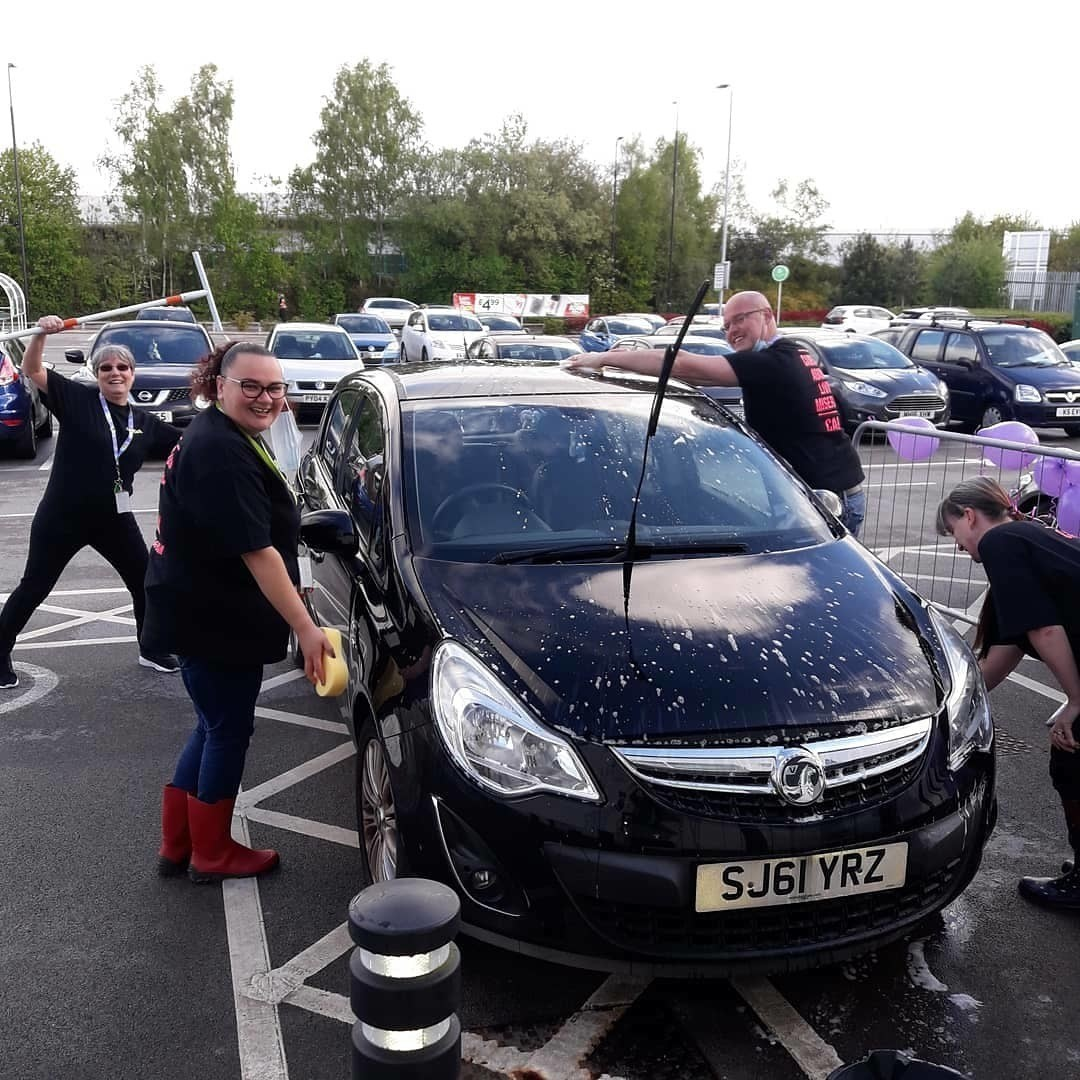 Asda colleagues wash cars for charity | Asda Altrincham