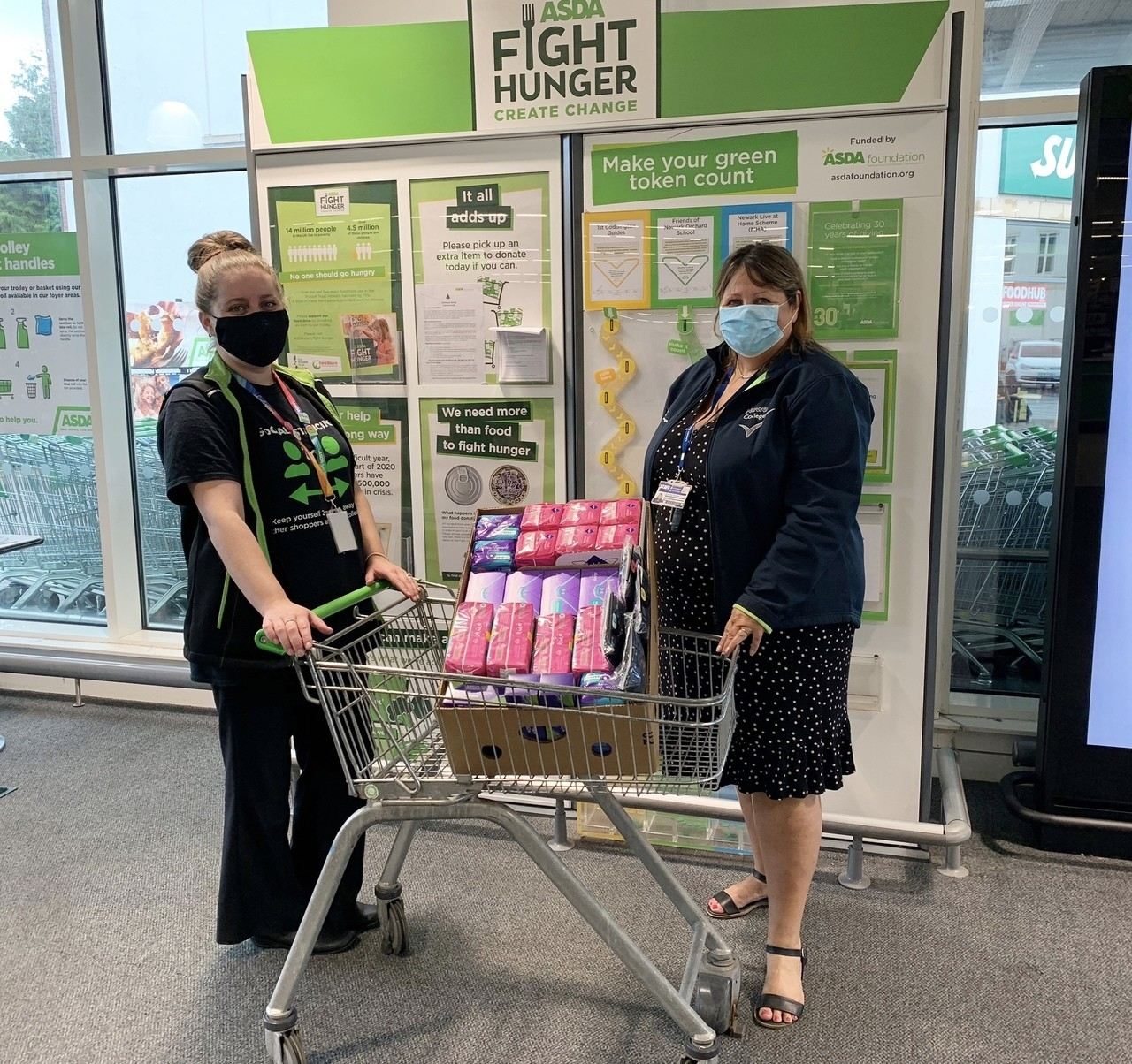 Donation of sanitary items to Newark College  | Asda Newark