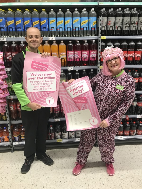Jo Scott, community champion at Asda Pwllheli, is holding a pyjama party to raise money for the Asda Tickled Pink breast cancer charity campaign