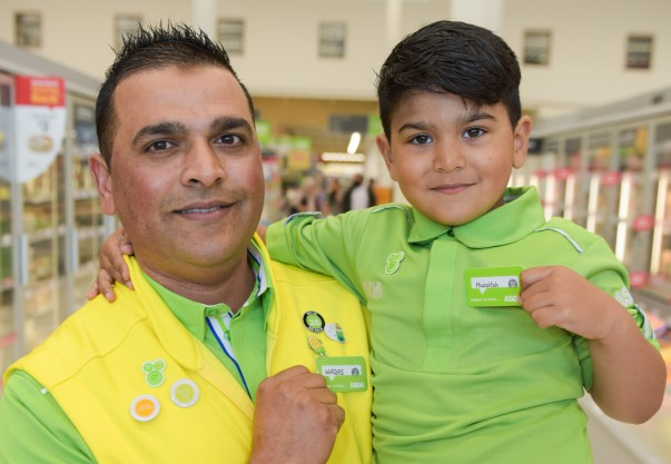 Huzaifah Ahmed and his dad Waqas at Asda St Matthews in Walsall