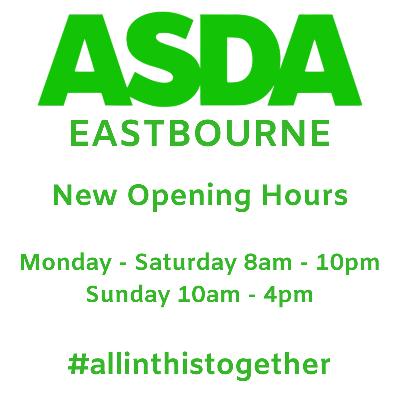 New store opening hours | Asda Eastbourne