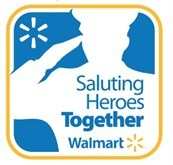 text reads: Saluting heroes together. Walmart*