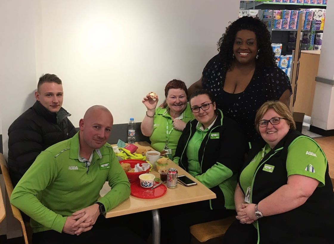 ITV This Morning star Alison Hammond with Asda Byker colleagues