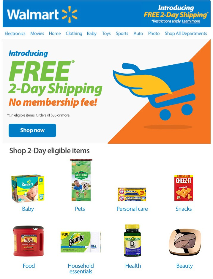 Walmart.com Free Two Day Shipping
