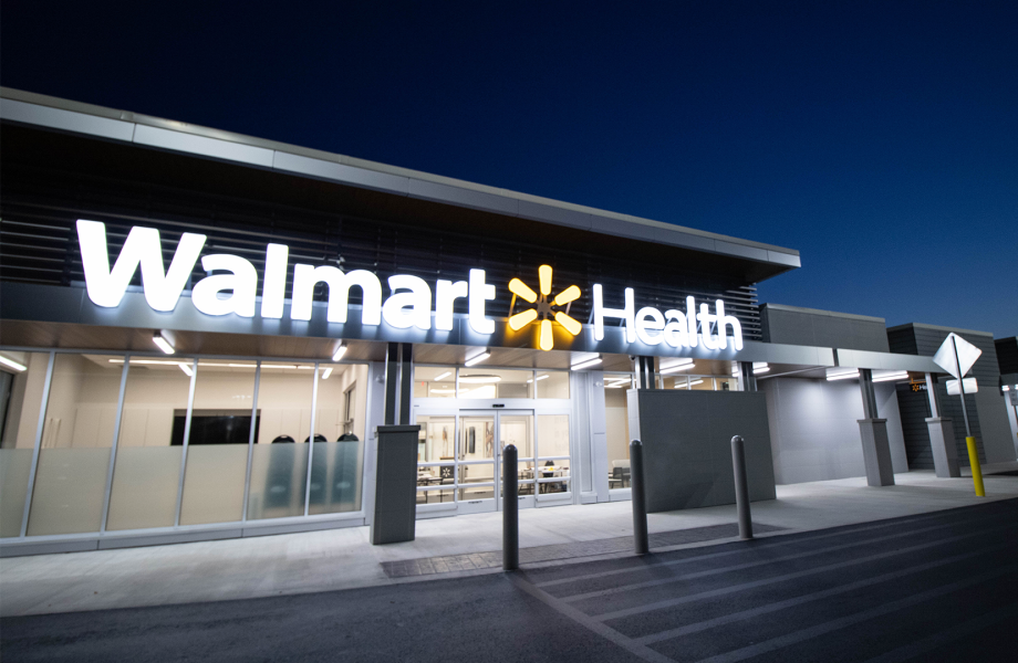 Walmart Health store front at night