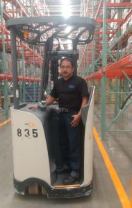 Walmart Mexico distribution center associate on forklift