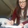 Tracy Hutchens works on her homework