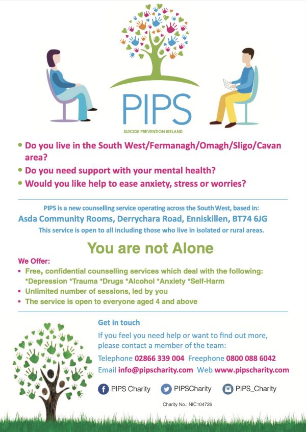 PIPS Suicide Prevention Ireland is offering support at Asda Enniskillen