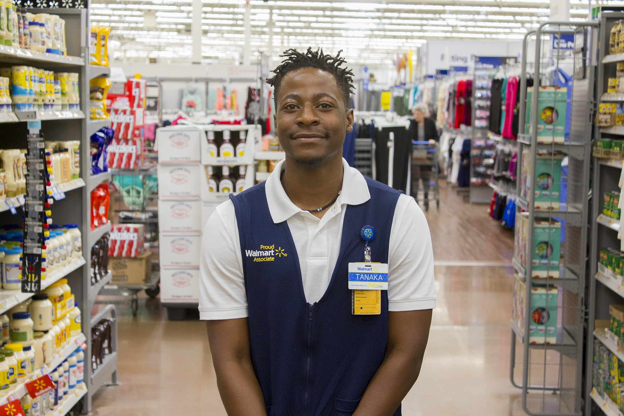 Walmart associate Tanaka in a Walmart supercenter