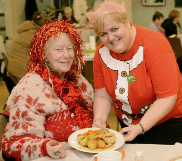 Asda Gosforth community champion Michelle Castledine with a Christmas guest