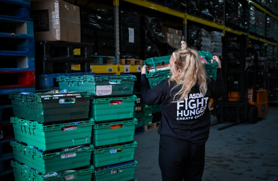 Asda Fight Hunger Create Change colleague loading food totes