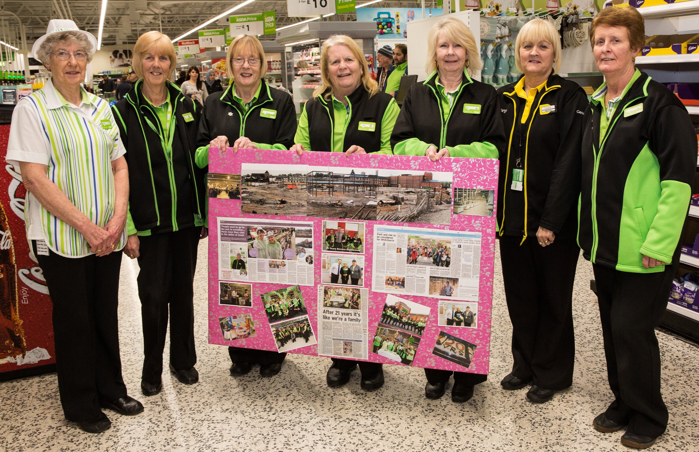 Long serving colleagues at Asda Bedminster's 30th birthday celebrations
