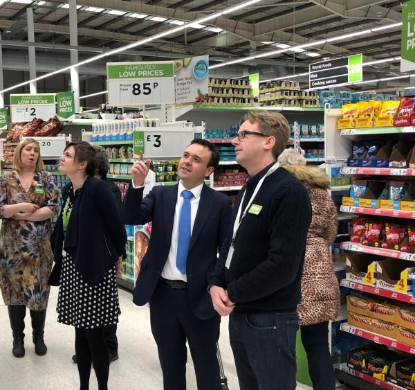 Stevenage MP Stephen McPartland visiting the Asda Stevenage technology store