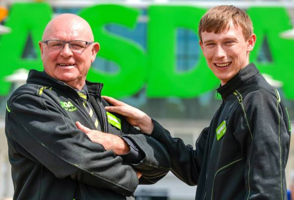 Asda Pudsey father and son colleagues David and Jack Huggins