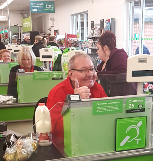 David Boulter at Asda Pershore is known as the Singing Checkout Man for his friendly service