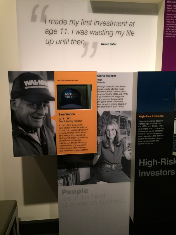 Photo of Sam Walton on display at Smithsonian Exhibit
