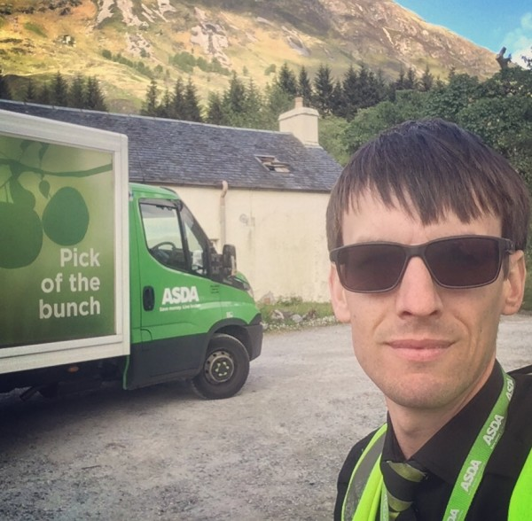 Asda Inverness driver Ash delivering to a youth hostel