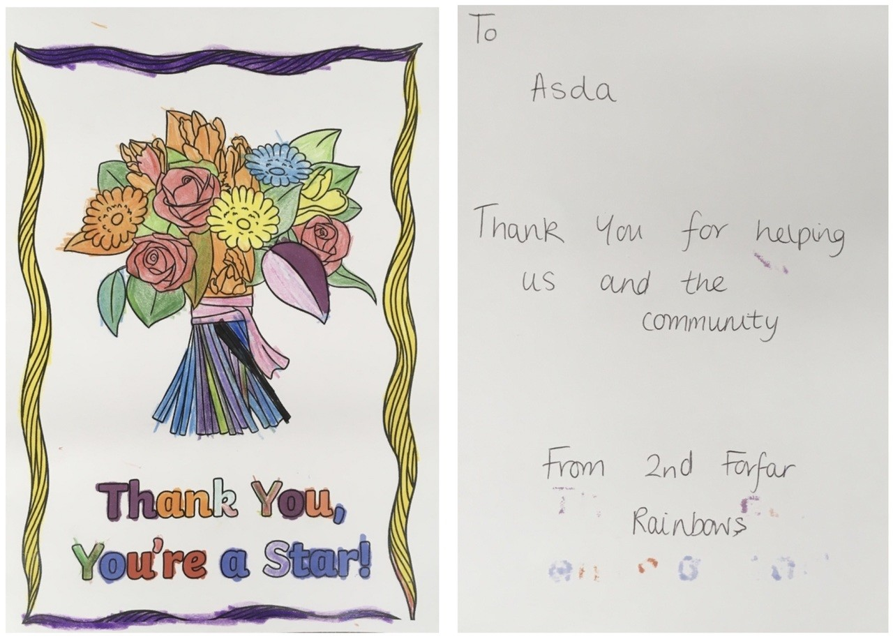 Rainbows' kind words | Asda Forfar