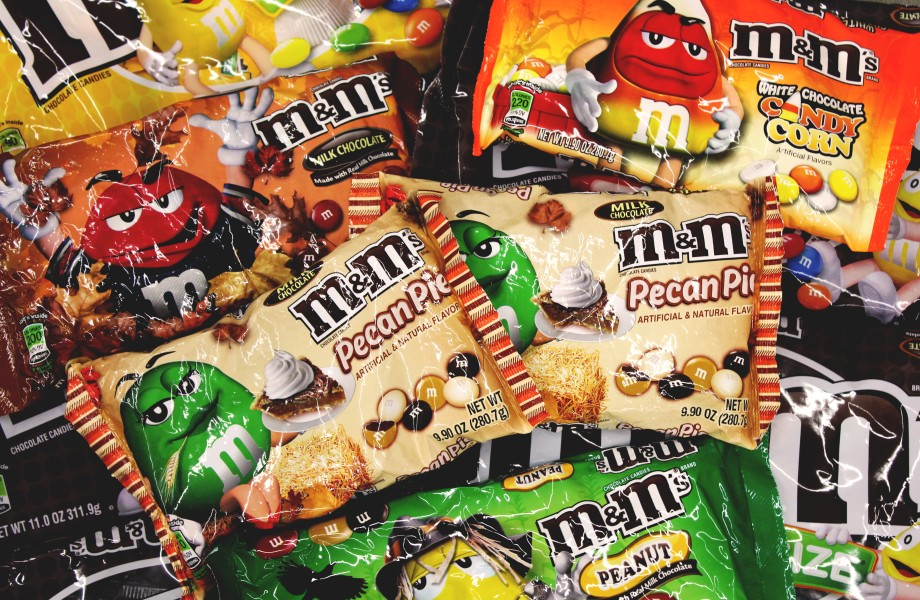 Assorted bags of M&Ms Candy