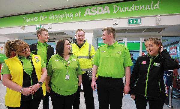 Tor Bank School Pupil Conor McSherry on placement with colleagues at Asda Dundonald
