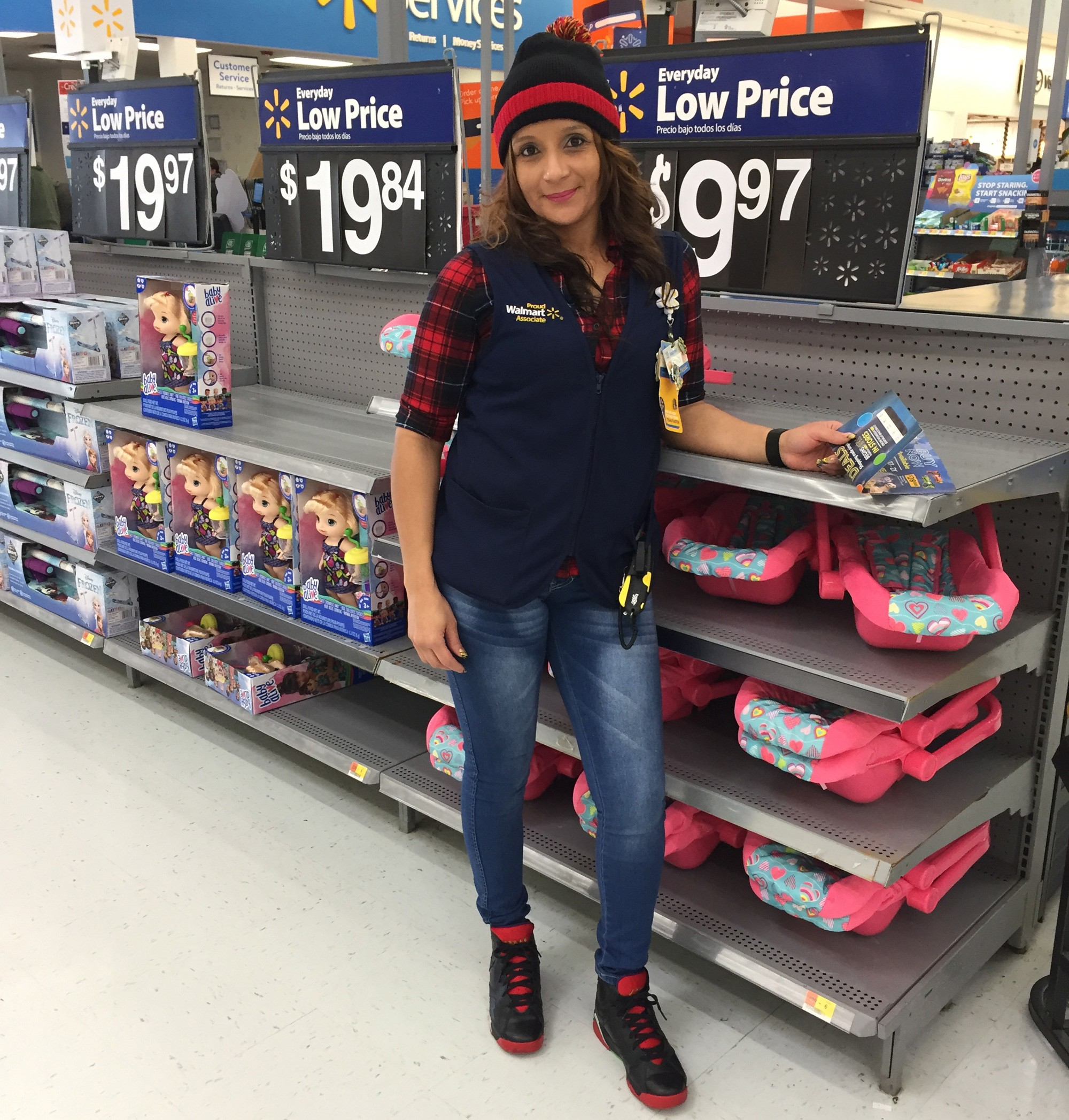 Enid Ruiz, an associate in a Walmart Supercenter in Secaucus, New Jersey
