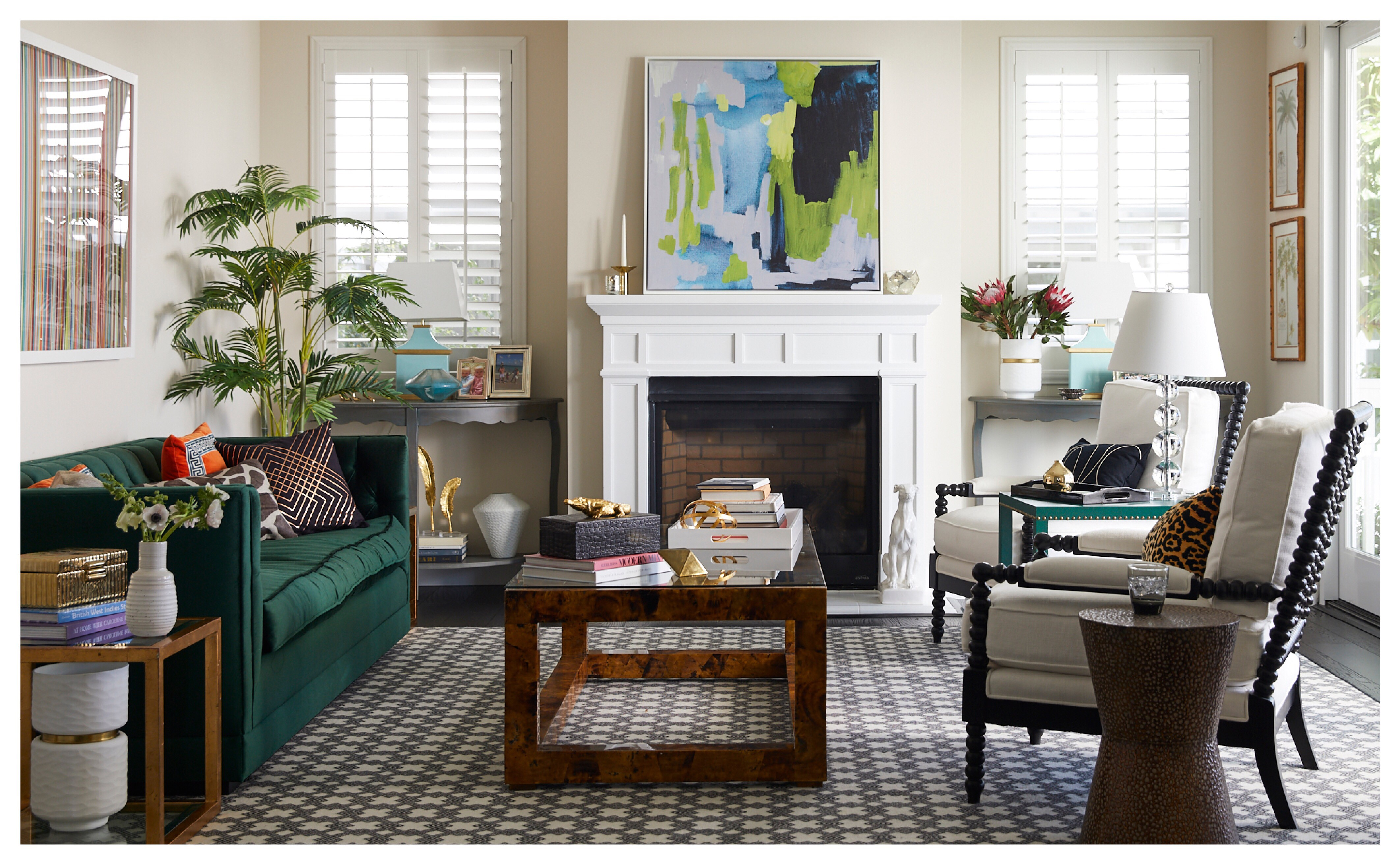 A living room decorated with an Art.com framed canvas