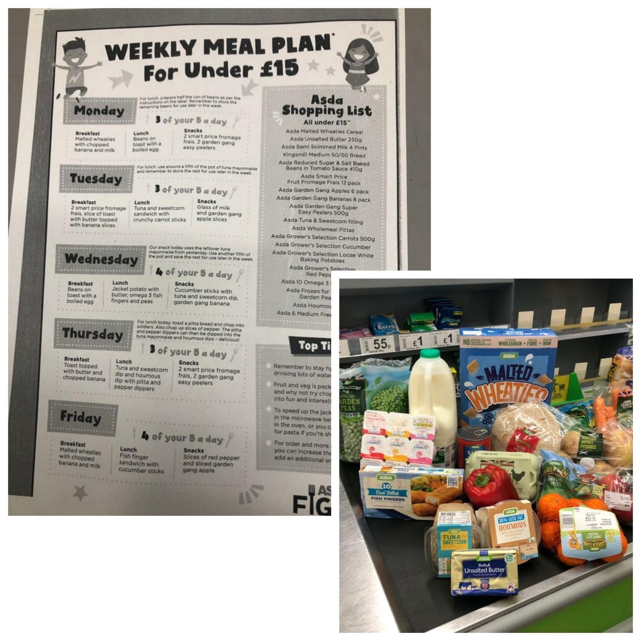 Weekly Meal Plan for under £15 | Asda Hartlepool