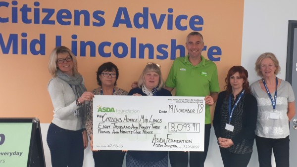 Asda Boston grant to Citizens Advice Mid-Lincolnshire