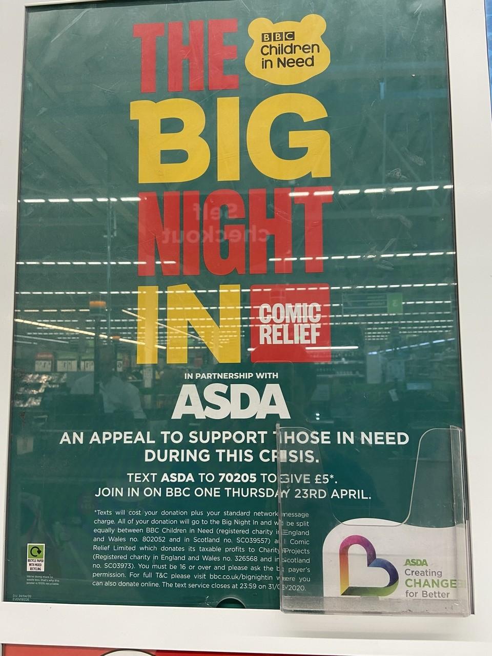 Asda Biggleswade is proud to support the Big Night In | Asda Biggleswade