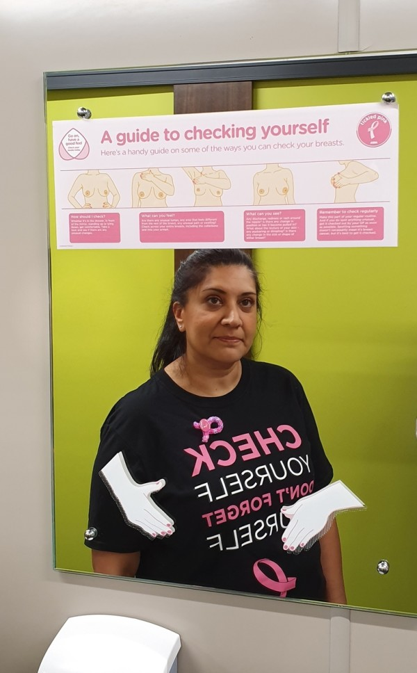 Asda Hayes colleague Angela backs Tickled Pink campaign after finding lump during check