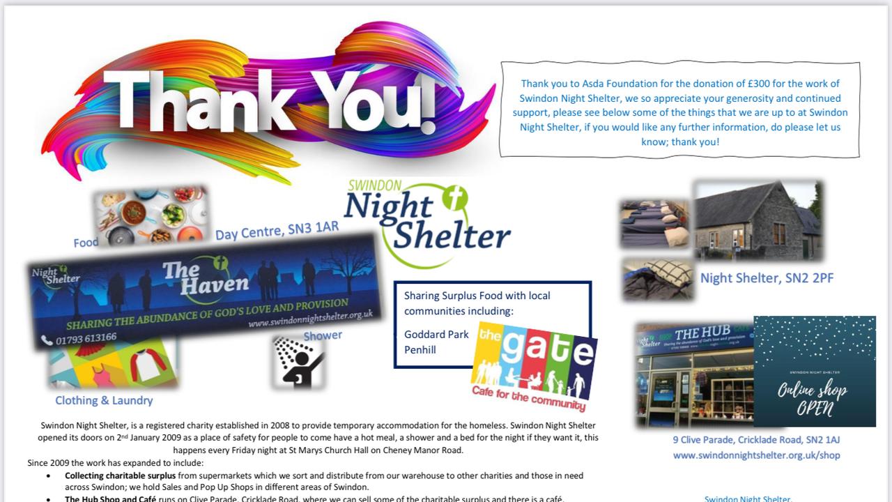 Christmas Giving £300 Thank you from Swindon Night Shelter | Asda Swindon Haydon