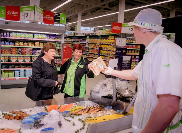 Mandy with Lorna at the fish counter at Asda St Leonards
