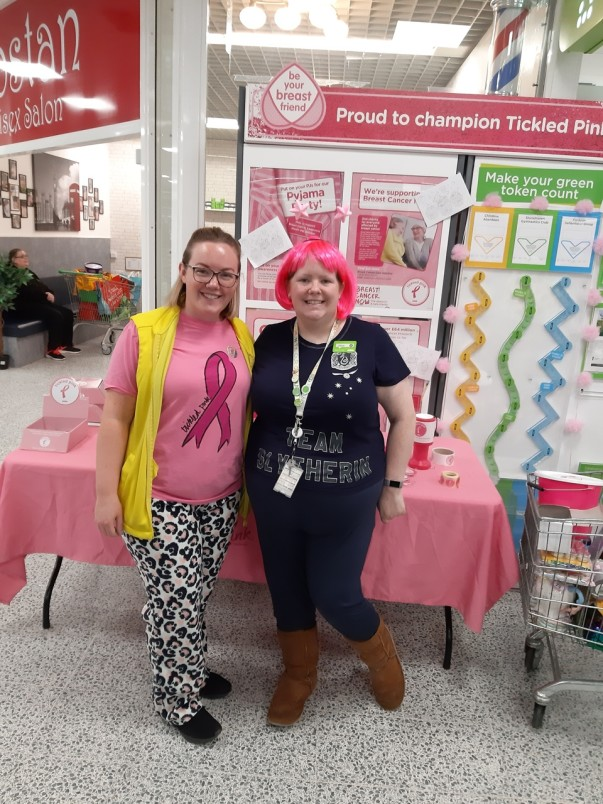 Asda Porthelthen colleagues take part in Tickled Pink pyjama party