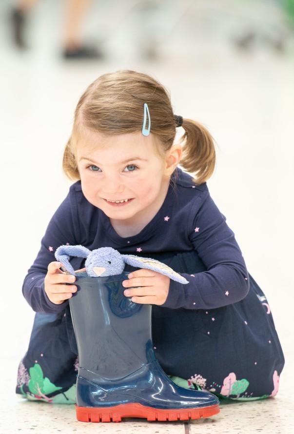 Violet's precious Bunny was found in a Wellington boot at Asda Leith