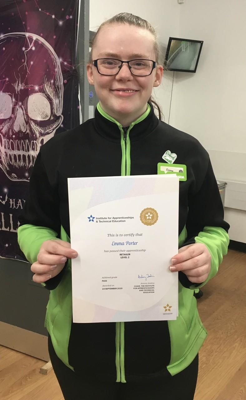 Apprenticeship praise for Emma | Asda Frome