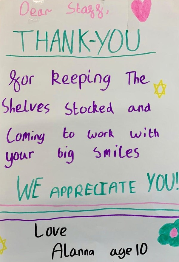 Thank you card to Asda Dalgety Bay