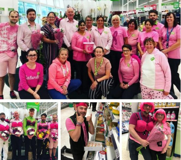 Colleagues at Asda Rugby support the Asda Tickled Pink breast cancer charity campaign