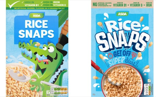 Rice Snaps boxes before and after