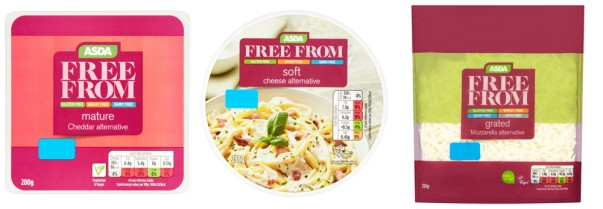 Some of the new vegan-friendly cheese alternatives from Asda
