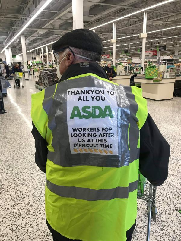Asda Bedminster Peter made a hi-vis thank you message