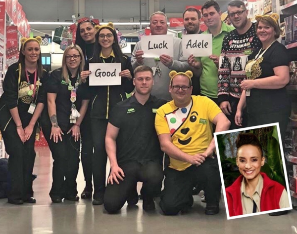 Lesley Roberts and her colleagues at Asda Fulwood hope Adele Roberts will win I'm A Celebrity Get Me Out Of Here